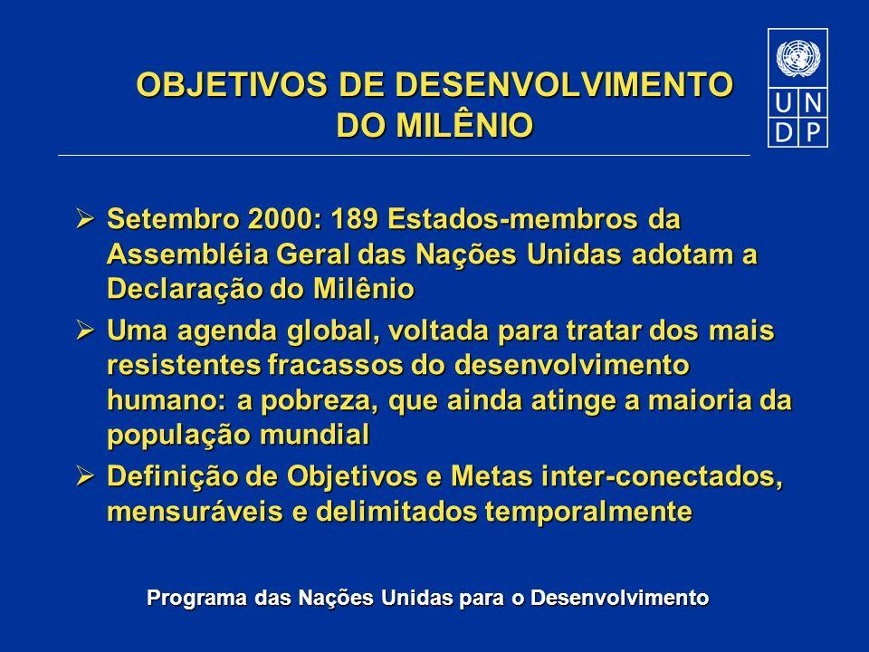 Programa das Nações Unidas para o Desenvolvimento OBJETIVOS DE DESENVOLVIMENTO DO MILÊNIO Setembro 2000: 189 Estados-membros da Assembléia Geral das N