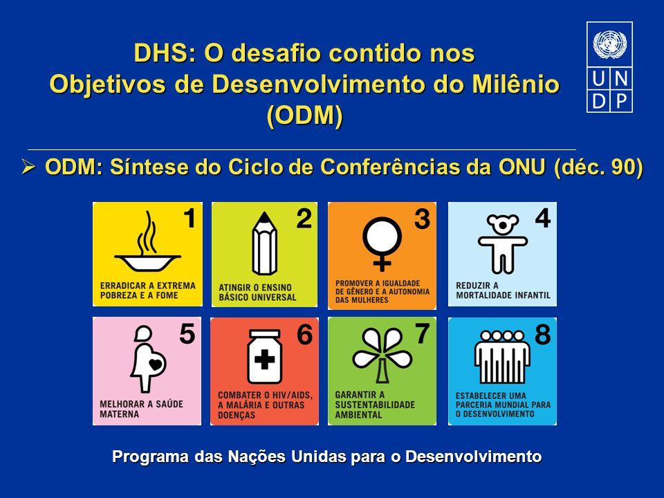 Programa das Nações Unidas para o Desenvolvimento DHS: O desafio contido nos Objetivos de Desenvolvimento do Milênio (ODM) ODM: Síntese do Ciclo de Co