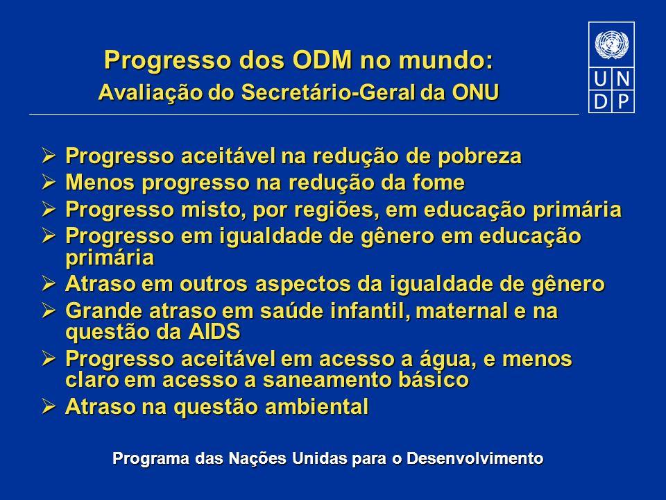 Programa das Nações Unidas para o Desenvolvimento Progresso dos ODM no mundo: Avaliação do Secretário-Geral da ONU Progresso aceitável na redução de p