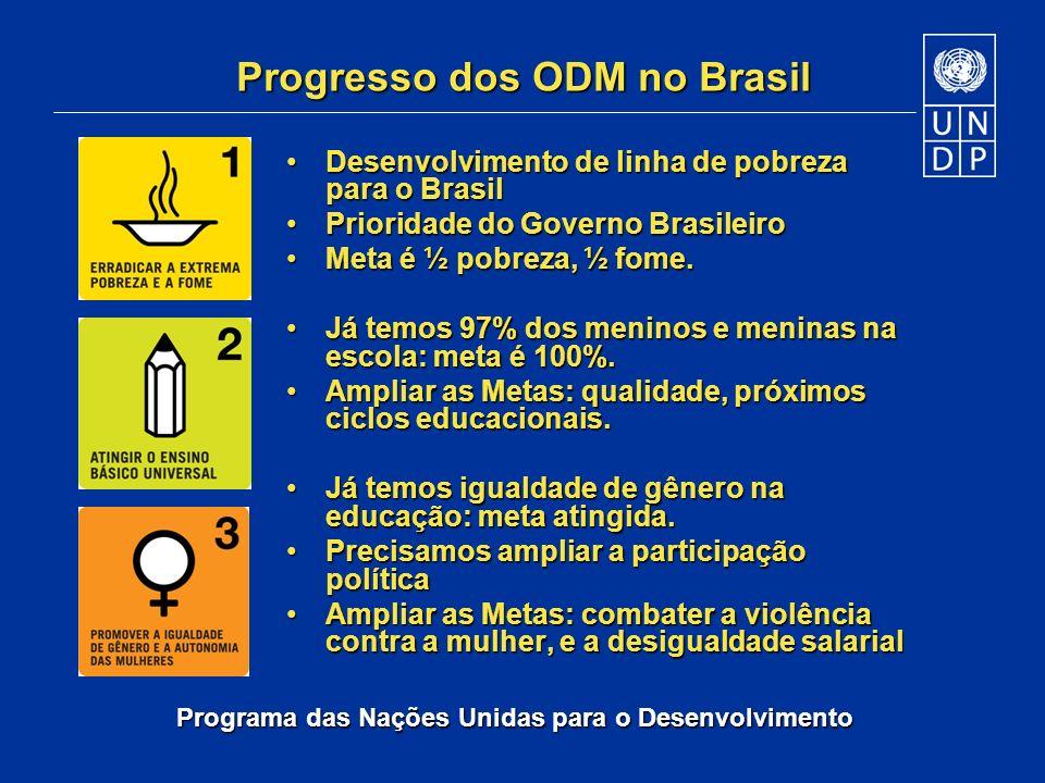 Programa das Nações Unidas para o Desenvolvimento Progresso dos ODM no Brasil Desenvolvimento de linha de pobreza para o BrasilDesenvolvimento de linh