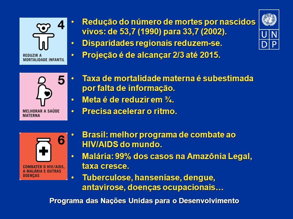 Programa das Nações Unidas para o Desenvolvimento Redução do número de mortes por nascidos vivos: de 53,7 (1990) para 33,7 (2002).Redução do número de