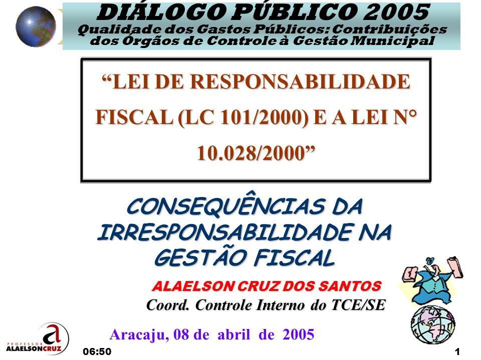06:521 LEI DE RESPONSABILIDADE FISCAL (LC 101/2000) E A LEI N° 10.028/2000 ALAELSON CRUZ DOS SANTOS Coord. Controle Interno do TCE/SE Aracaju, 08 de a