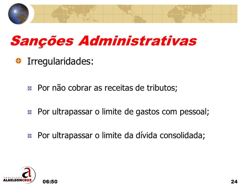 06:5224 Sanções Administrativas Irregularidades: Por não cobrar as receitas de tributos; Por ultrapassar o limite de gastos com pessoal; Por ultrapass