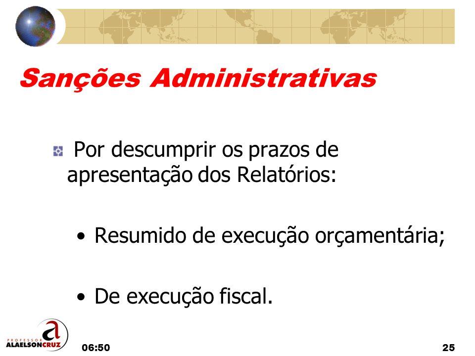 06:5225 Sanções Administrativas Por descumprir os prazos de apresentação dos Relatórios: Resumido de execução orçamentária; De execução fiscal.