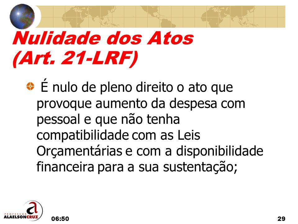 06:5229 Nulidade dos Atos (Art. 21-LRF) É nulo de pleno direito o ato que provoque aumento da despesa com pessoal e que não tenha compatibilidade com