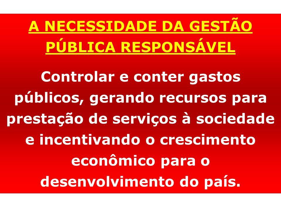 A NECESSIDADE DA GESTÃO PÚBLICA RESPONSÁVEL Controlar e conter gastos públicos, gerando recursos para prestação de serviços à sociedade e incentivando