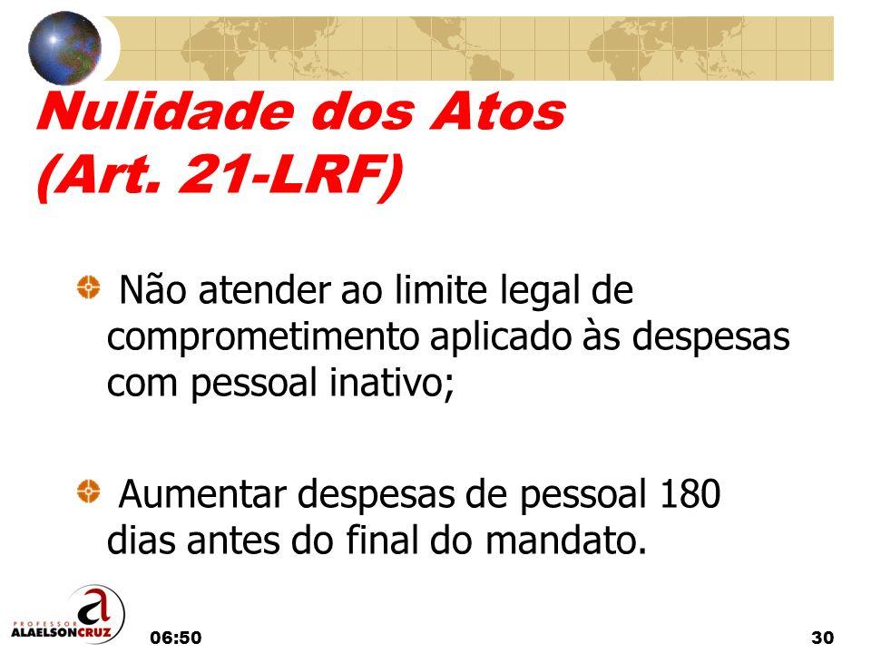06:5230 Nulidade dos Atos (Art. 21-LRF) Não atender ao limite legal de comprometimento aplicado às despesas com pessoal inativo; Aumentar despesas de