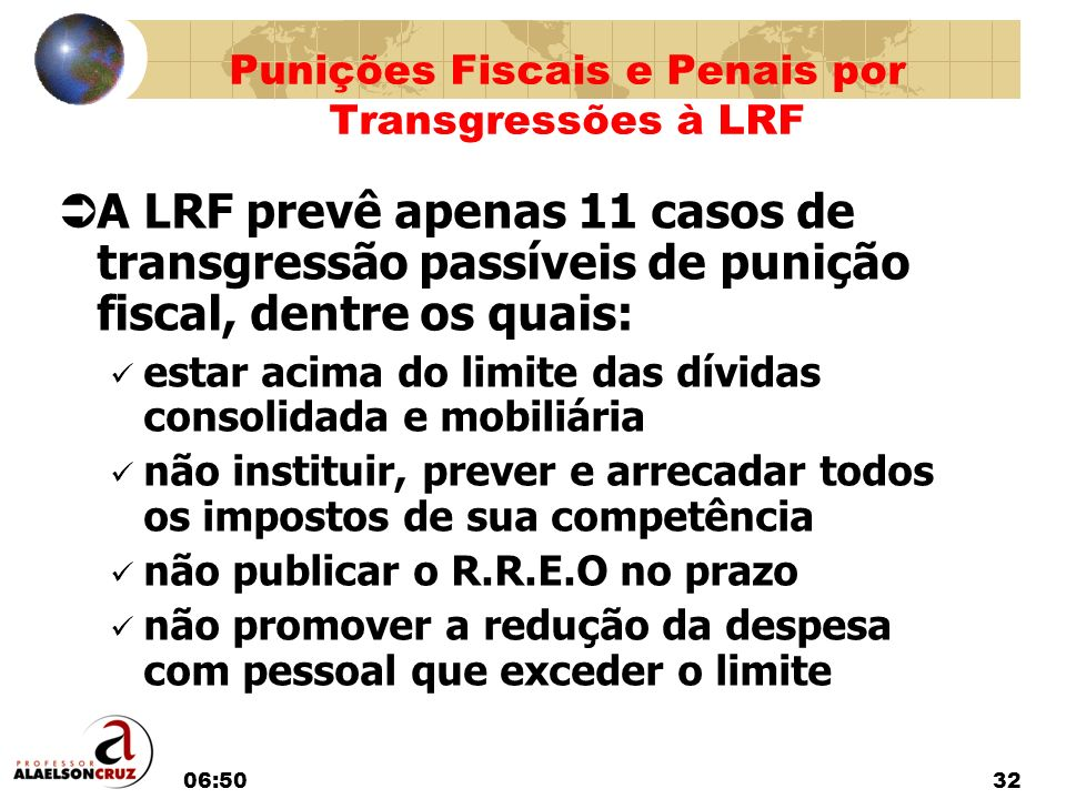 06:5232 A LRF prevê apenas 11 casos de transgressão passíveis de punição fiscal, dentre os quais: estar acima do limite das dívidas consolidada e mobi