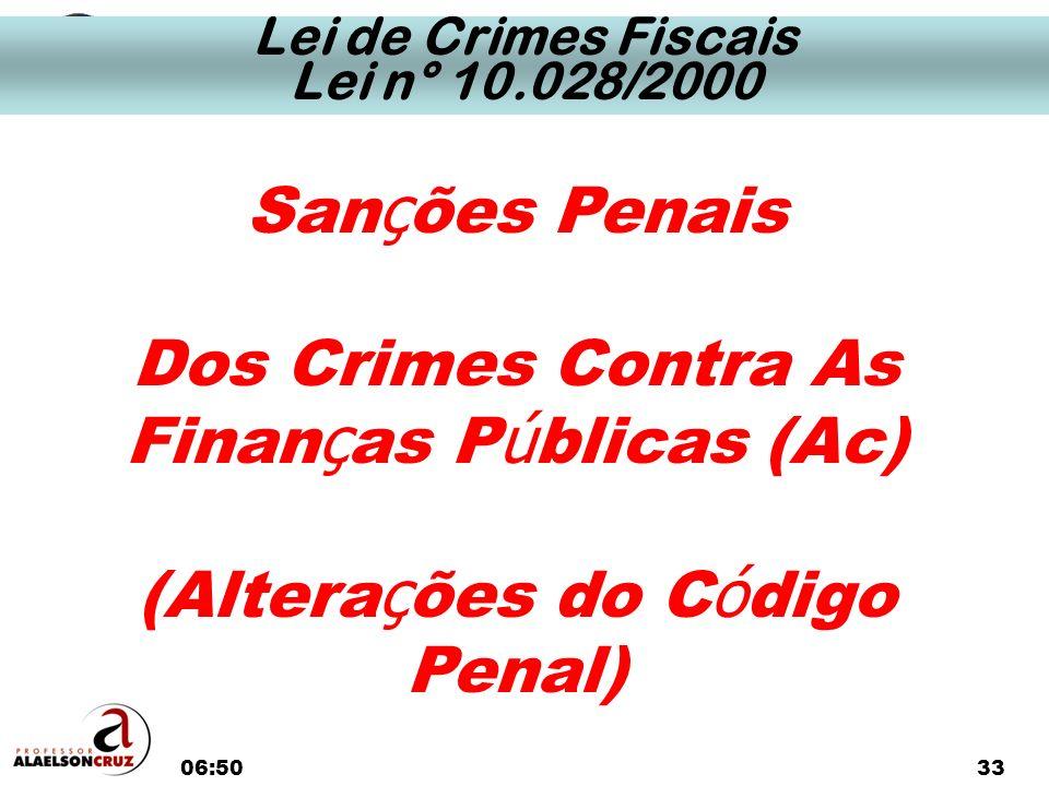 06:5233 San ç ões Penais Dos Crimes Contra As Finan ç as P ú blicas (Ac) (Altera ç ões do C ó digo Penal) Lei de Crimes Fiscais Lei n° 10.028/2000