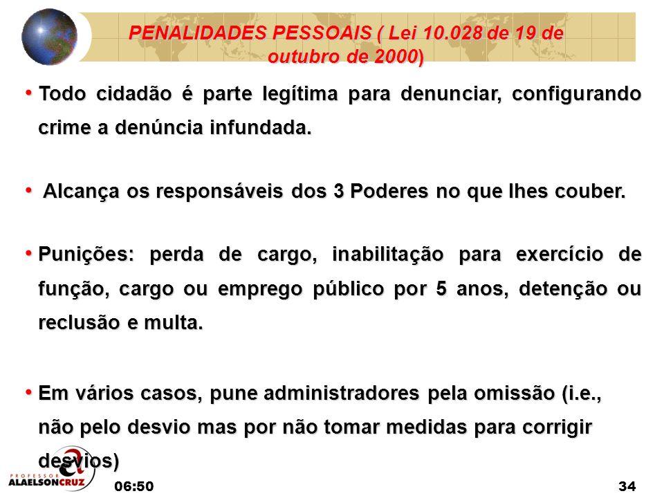 06:5234 PENALIDADES PESSOAIS ( Lei 10.028 de 19 de outubro de 2000) Todo cidadão é parte legítima para denunciar, configurando crime a denúncia infund