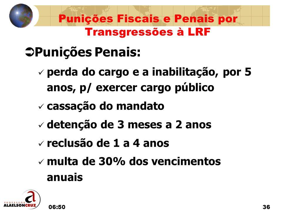 06:5236 Punições Penais: perda do cargo e a inabilitação, por 5 anos, p/ exercer cargo público cassação do mandato detenção de 3 meses a 2 anos reclus