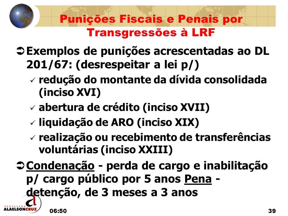 06:5239 Exemplos de punições acrescentadas ao DL 201/67: (desrespeitar a lei p/) redução do montante da dívida consolidada (inciso XVI) abertura de cr