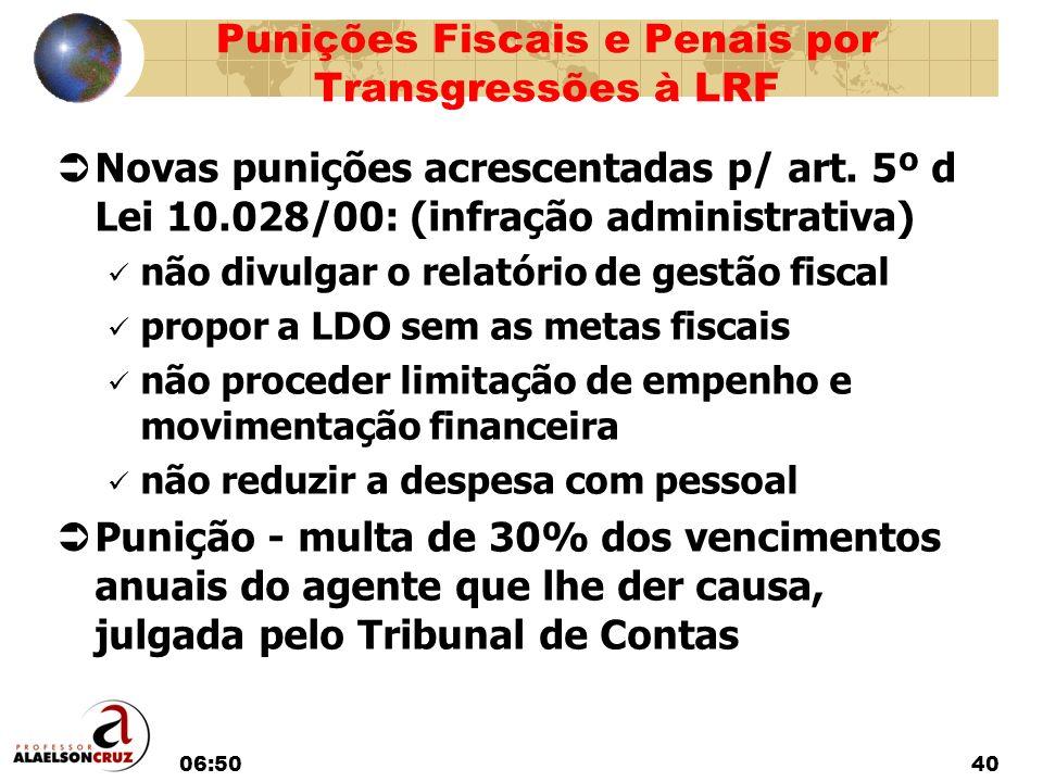 06:5240 Novas punições acrescentadas p/ art. 5º d Lei 10.028/00: (infração administrativa) não divulgar o relatório de gestão fiscal propor a LDO sem