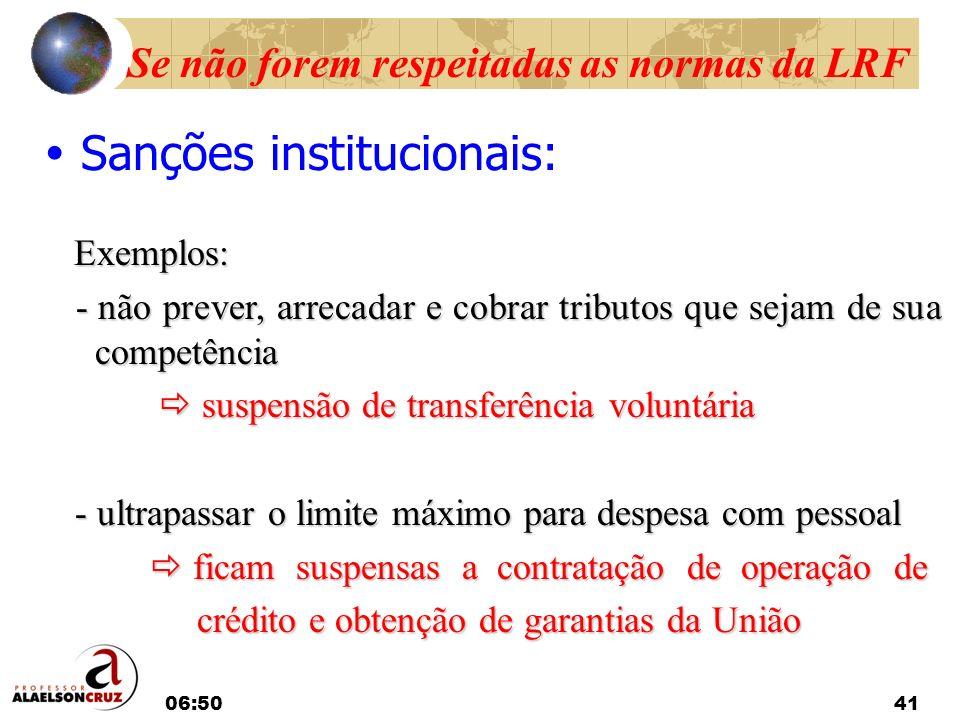 06:5241 Se não forem respeitadas as normas da LRF Sanções institucionais: Exemplos: Exemplos: - não prever, arrecadar e cobrar tributos que sejam de s
