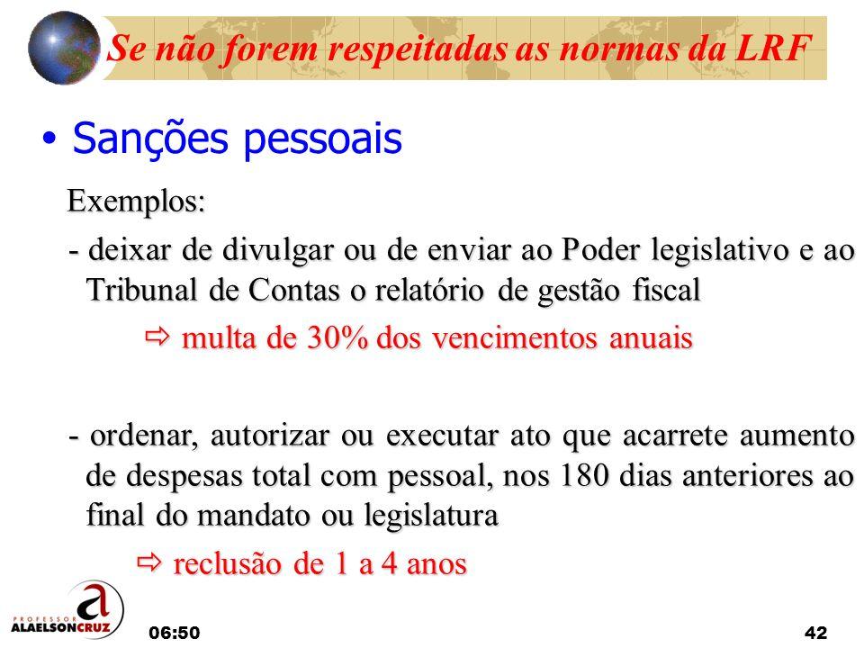 06:5242 Sanções pessoais Exemplos: Exemplos: - deixar de divulgar ou de enviar ao Poder legislativo e ao Tribunal de Contas o relatório de gestão fisc