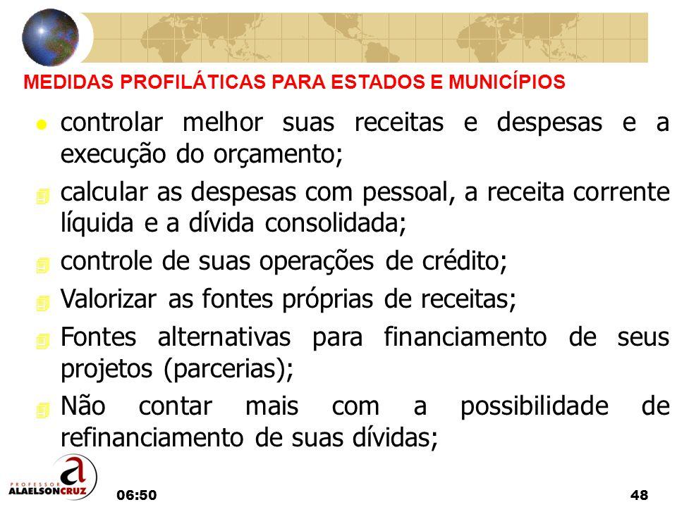 06:5248 MEDIDAS PROFILÁTICAS PARA ESTADOS E MUNICÍPIOS l controlar melhor suas receitas e despesas e a execução do orçamento; 4 calcular as despesas c