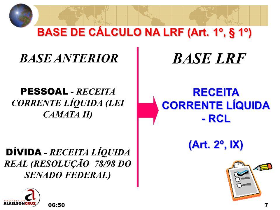 06:527 BASE ANTERIOR BASE LRF PESSOAL - RECEITA CORRENTE LÍQUIDA (LEI CAMATA II) DÍVIDA - RECEITA LÍQUIDA REAL (RESOLUÇÃO 78/98 DO SENADO FEDERAL) REC