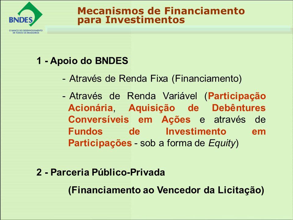 Mecanismos de Financiamento para Investimentos 1 - Apoio do BNDES - Através de Renda Fixa (Financiamento) - Através de Renda Variável (Participação Acionária, Aquisição de Debêntures Conversíveis em Ações e através de Fundos de Investimento em Participações - sob a forma de Equity) 2 - Parceria Público-Privada (Financiamento ao Vencedor da Licitação)