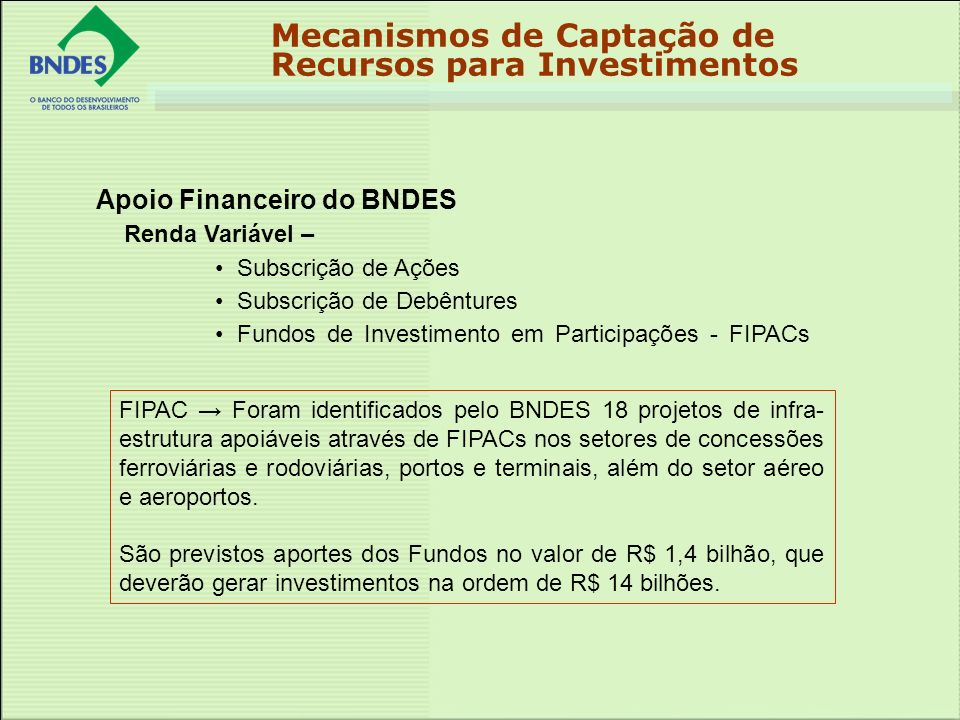 Apoio Financeiro do BNDES Renda Variável – Subscrição de Ações Subscrição de Debêntures Fundos de Investimento em Participações - FIPACs Mecanismos de Captação de Recursos para Investimentos FIPAC Foram identificados pelo BNDES 18 projetos de infra- estrutura apoiáveis através de FIPACs nos setores de concessões ferroviárias e rodoviárias, portos e terminais, além do setor aéreo e aeroportos.