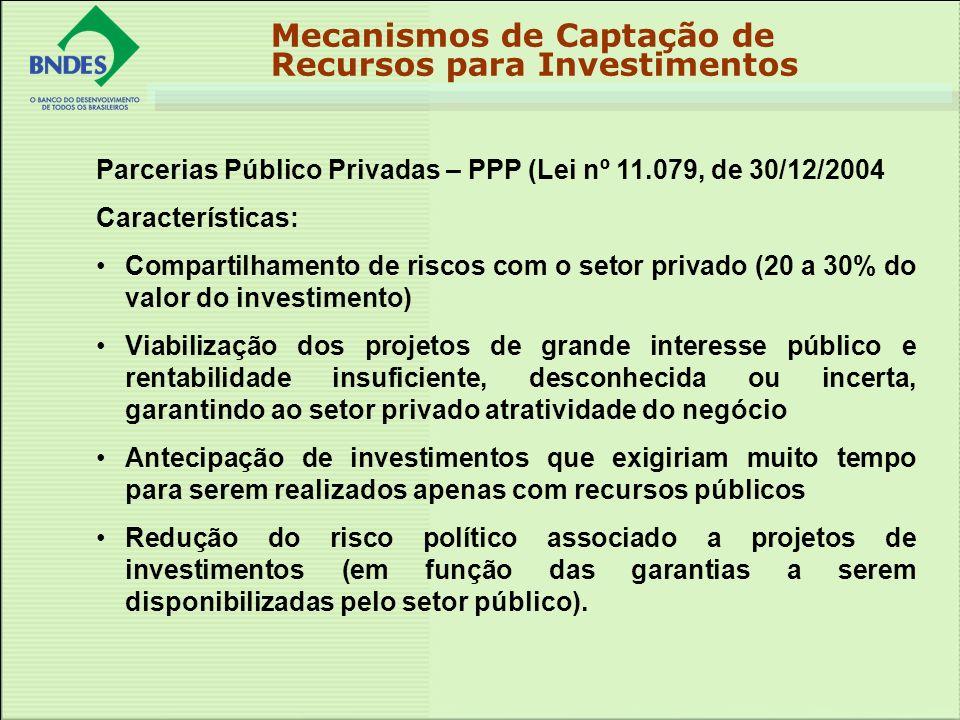 Parcerias Público Privadas – PPP (Lei nº 11.079, de 30/12/2004 Características: Compartilhamento de riscos com o setor privado (20 a 30% do valor do i