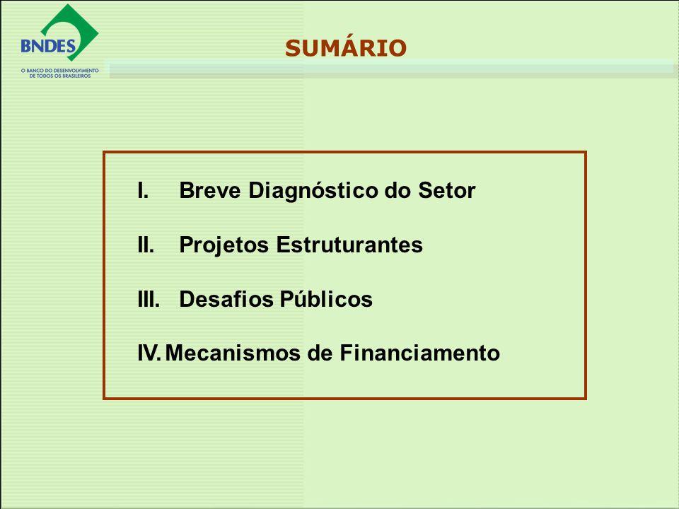 I.Breve Diagnóstico do Setor II. Projetos Estruturantes III. Desafios Públicos IV.Mecanismos de Financiamento SUMÁRIO