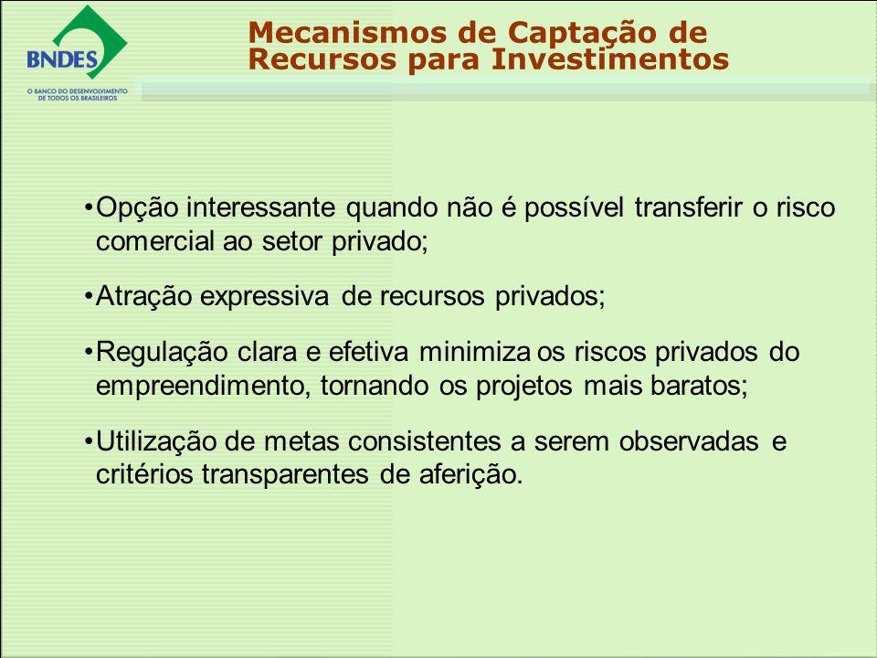 Opção interessante quando não é possível transferir o risco comercial ao setor privado; Atração expressiva de recursos privados; Regulação clara e efe