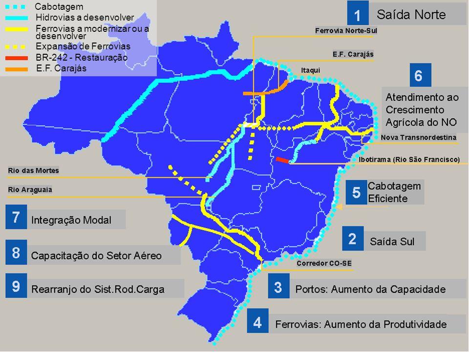 Cabotagem Hidrovias a desenvolver Ferrovias a modernizar ou a desenvolver Expansão de Ferrovias BR-242 - Restauração E.F. Carajás