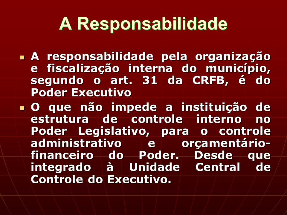 A Responsabilidade A responsabilidade pela organização e fiscalização interna do município, segundo o art.