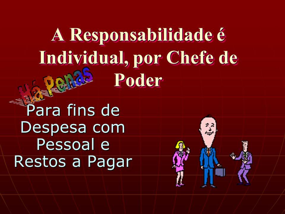 A Responsabilidade é Individual, por Chefe de Poder Para fins de Despesa com Pessoal e Restos a Pagar