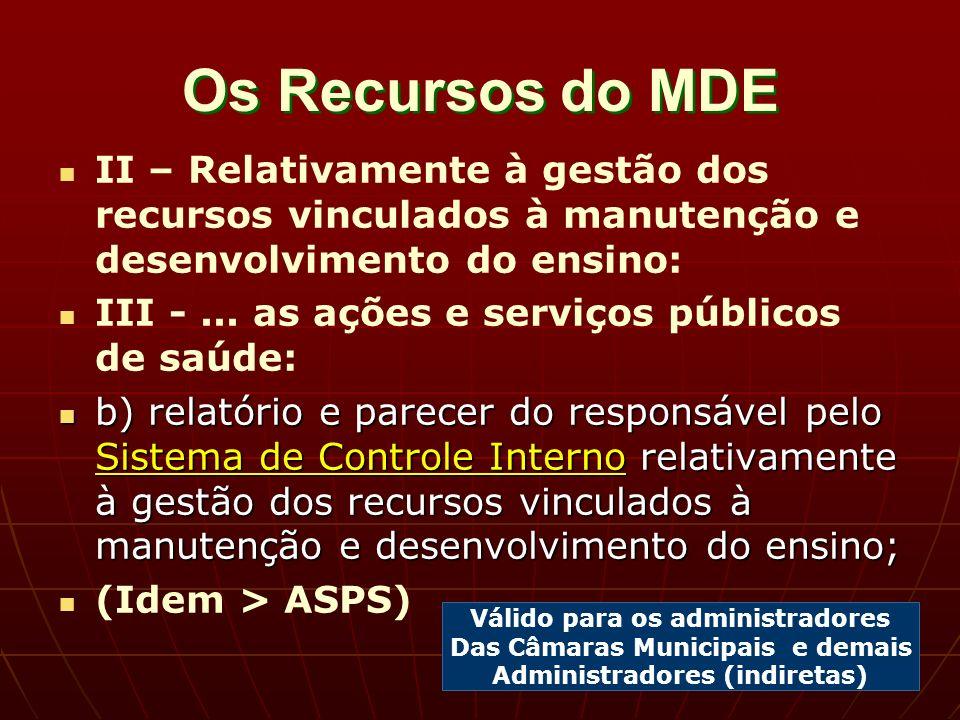 Os Recursos do MDE II – Relativamente à gestão dos recursos vinculados à manutenção e desenvolvimento do ensino: III -...