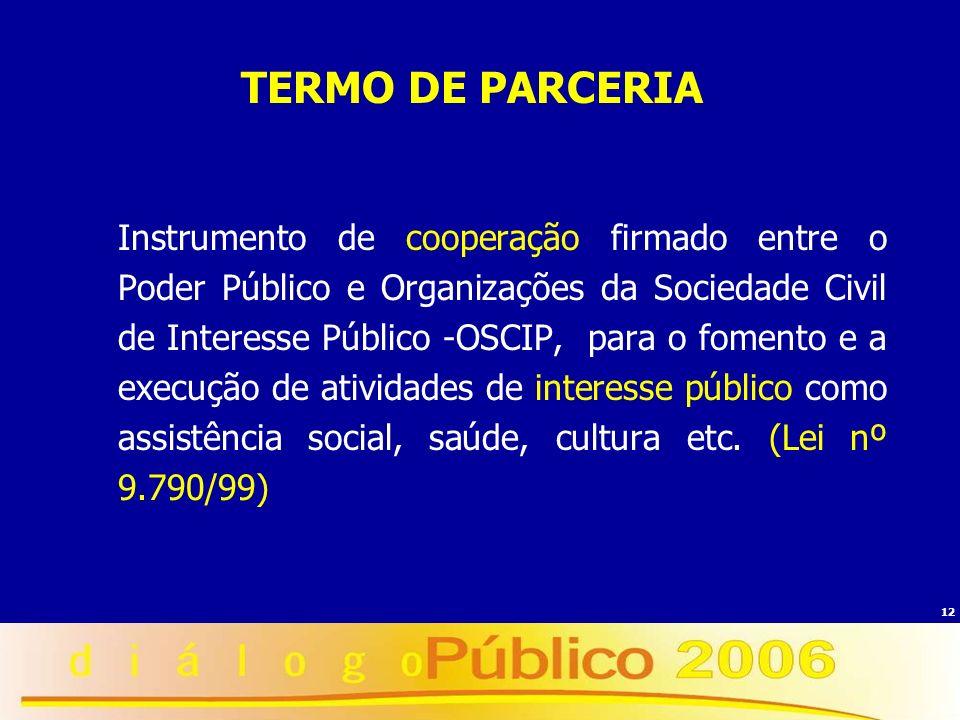 12 TERMO DE PARCERIA Instrumento de cooperação firmado entre o Poder Público e Organizações da Sociedade Civil de Interesse Público -OSCIP, para o fom