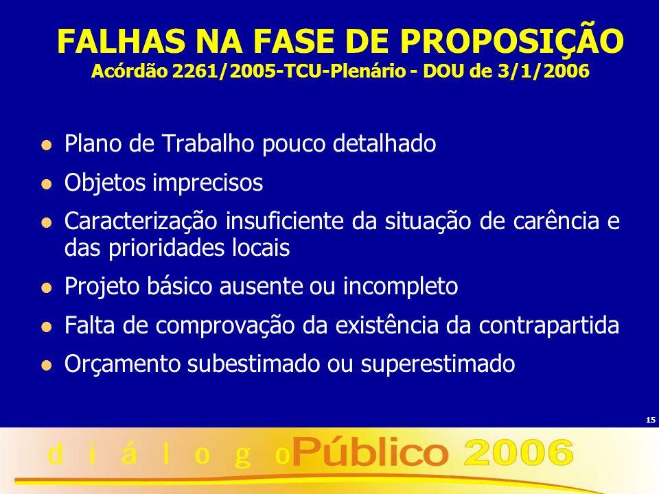 15 FALHAS NA FASE DE PROPOSIÇÃO Acórdão 2261/2005-TCU-Plenário - DOU de 3/1/2006 Plano de Trabalho pouco detalhado Objetos imprecisos Caracterização i