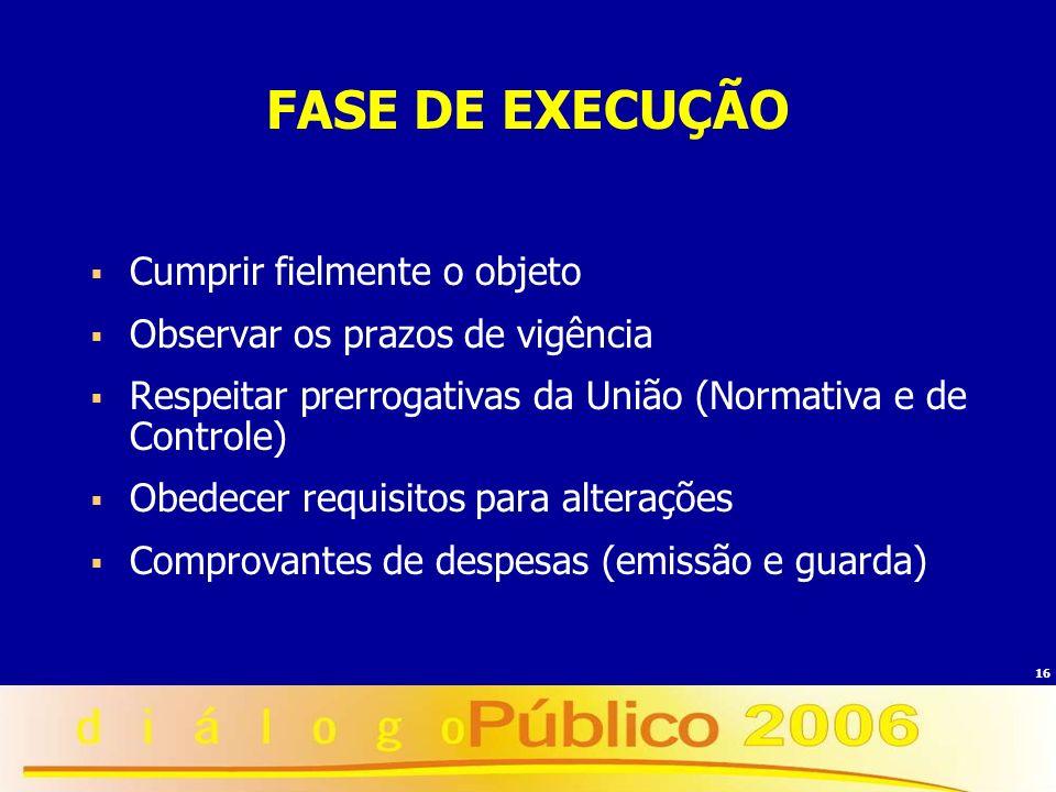 16 FASE DE EXECUÇÃO Cumprir fielmente o objeto Observar os prazos de vigência Respeitar prerrogativas da União (Normativa e de Controle) Obedecer requ