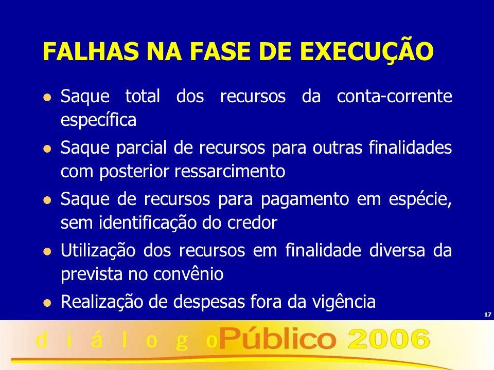 17 FALHAS NA FASE DE EXECUÇÃO Saque total dos recursos da conta-corrente específica Saque parcial de recursos para outras finalidades com posterior re