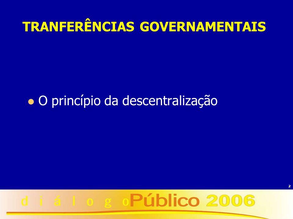 2 TRANFERÊNCIAS GOVERNAMENTAIS O princípio da descentralização