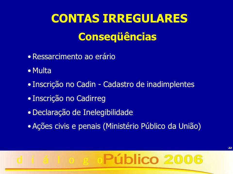 22 Conseqüências Ressarcimento ao erário Multa Inscrição no Cadin - Cadastro de inadimplentes Inscrição no Cadirreg Declaração de Inelegibilidade Açõe