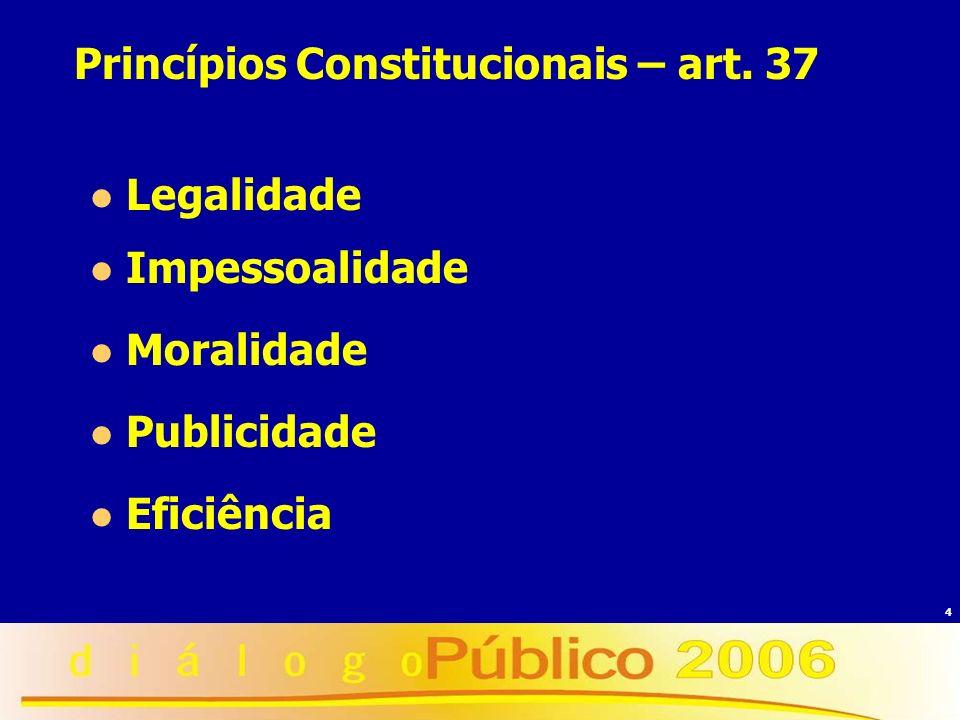 4 Princípios Constitucionais – art. 37 Legalidade Impessoalidade Moralidade Publicidade Eficiência