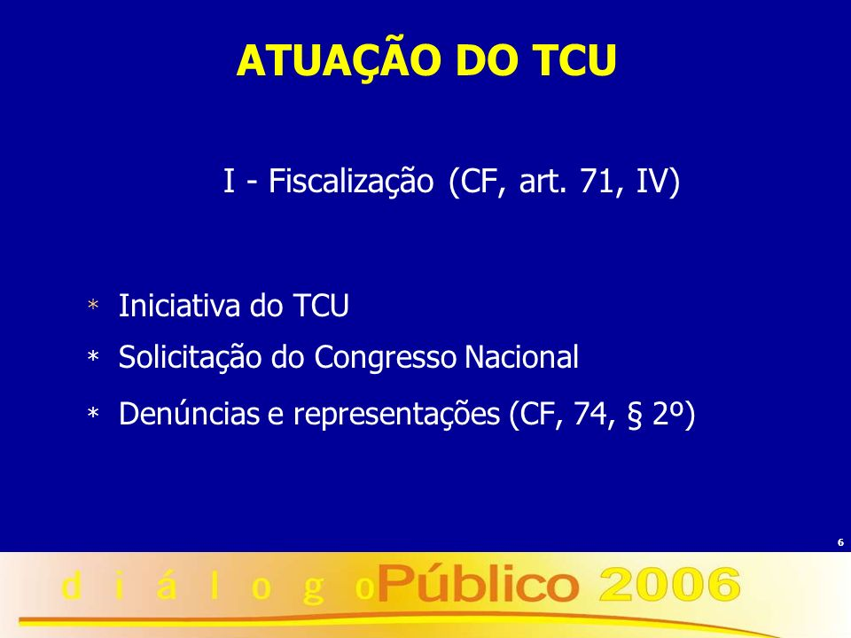 6 ATUAÇÃO DO TCU I - Fiscalização (CF, art. 71, IV) * Iniciativa do TCU * Solicitação do Congresso Nacional * Denúncias e representações (CF, 74, § 2º
