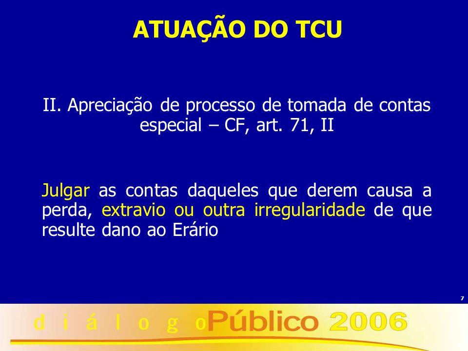 7 ATUAÇÃO DO TCU II. Apreciação de processo de tomada de contas especial – CF, art. 71, II Julgar as contas daqueles que derem causa a perda, extravio