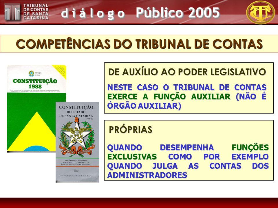 d i á l o g o Público 2005 QUANDO DESEMPENHA FUNÇÕES EXCLUSIVAS COMO POR EXEMPLO QUANDO JULGA AS CONTAS DOS ADMINISTRADORES PRÓPRIAS NESTE CASO O TRIBUNAL DE CONTAS EXERCE A FUNÇÃO AUXILIAR (NÃO É ÓRGÃO AUXILIAR) DE AUXÍLIO AO PODER LEGISLATIVO COMPETÊNCIAS DO TRIBUNAL DE CONTAS