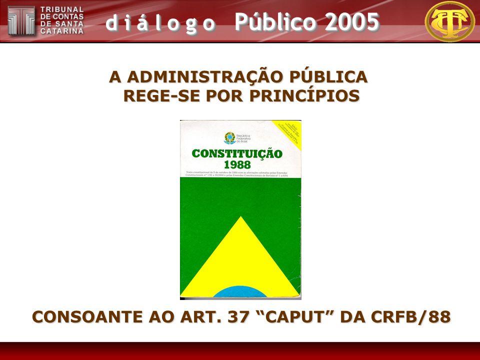 d i á l o g o Público 2005 A ADMINISTRAÇÃO PÚBLICA REGE-SE POR PRINCÍPIOS CONSOANTE AO ART. 37 CAPUT DA CRFB/88