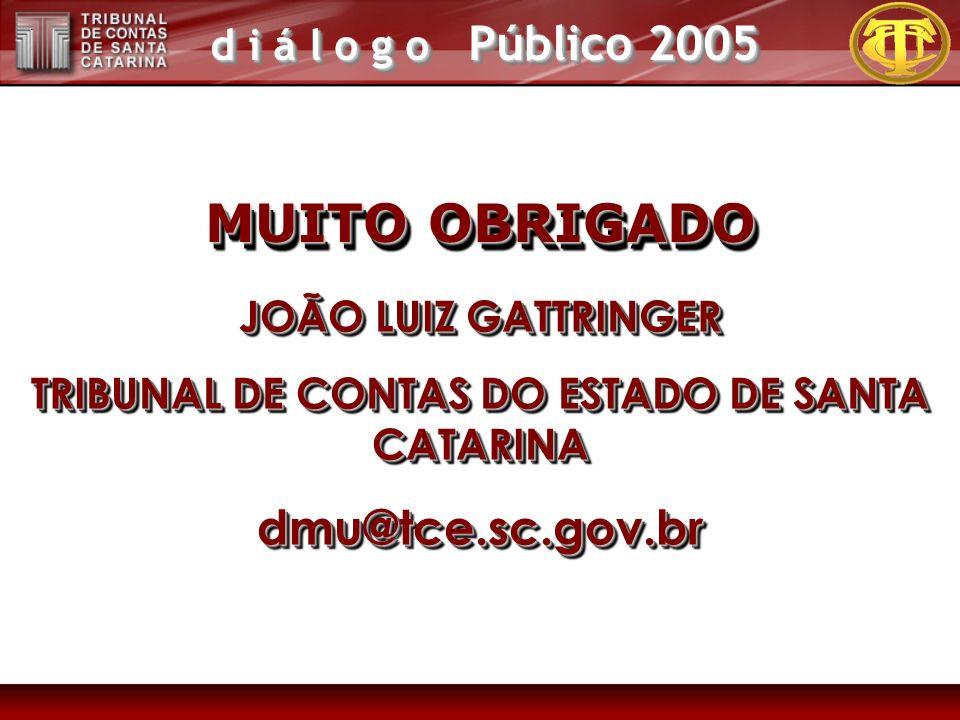 d i á l o g o Público 2005 MUITO OBRIGADO JOÃO LUIZ GATTRINGER TRIBUNAL DE CONTAS DO ESTADO DE SANTA CATARINA dmu@tce.sc.gov.br JOÃO LUIZ GATTRINGER TRIBUNAL DE CONTAS DO ESTADO DE SANTA CATARINA dmu@tce.sc.gov.br