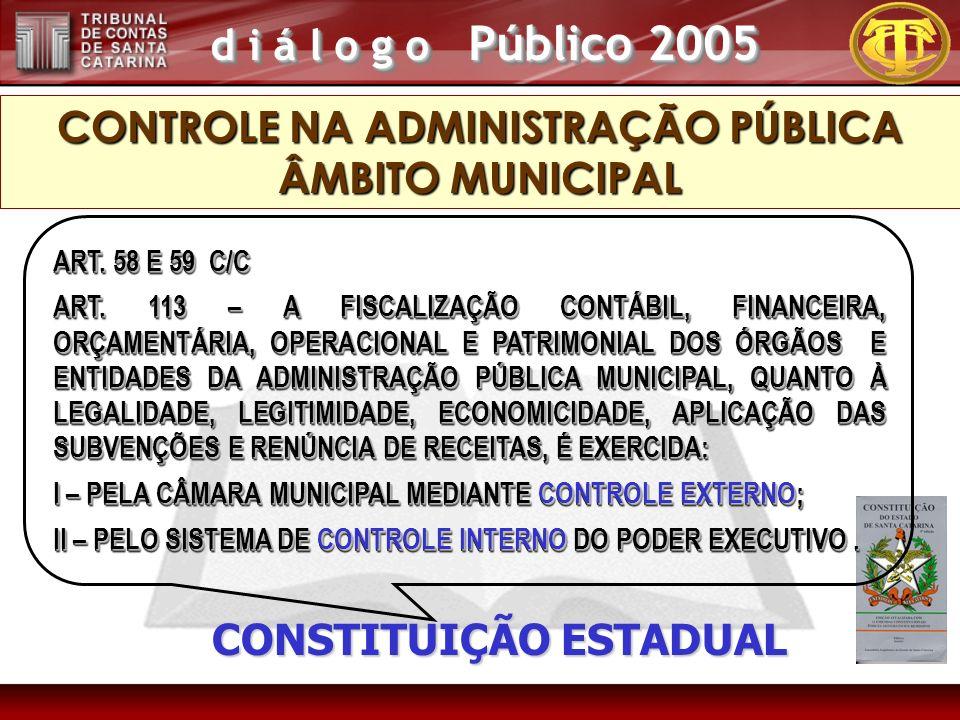 d i á l o g o Público 2005 CONSTITUIÇÃO ESTADUAL ART. 58 E 59 C/C ART. 113 – A FISCALIZAÇÃO CONTÁBIL, FINANCEIRA, ORÇAMENTÁRIA, OPERACIONAL E PATRIMON