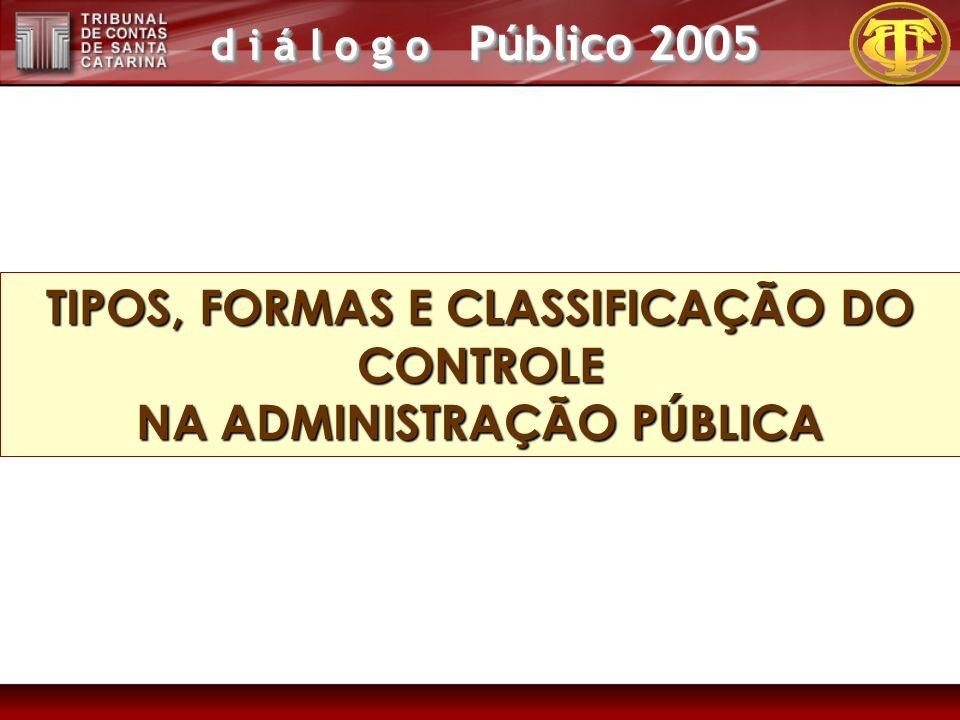 d i á l o g o Público 2005 TIPOS, FORMAS E CLASSIFICAÇÃO DO CONTROLE NA ADMINISTRAÇÃO PÚBLICA