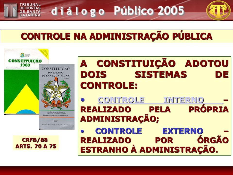 d i á l o g o Público 2005 CONTROLE NA ADMINISTRAÇÃO PÚBLICA A CONSTITUIÇÃO ADOTOU DOIS SISTEMAS DE CONTROLE: CONTROLE INTERNO – REALIZADO PELA PRÓPRIA ADMINISTRAÇÃO; CONTROLE INTERNO – REALIZADO PELA PRÓPRIA ADMINISTRAÇÃO; CONTROLE INTERNO CONTROLE INTERNO CONTROLE EXTERNO – REALIZADO POR ÓRGÃO ESTRANHO À ADMINISTRAÇÃO.