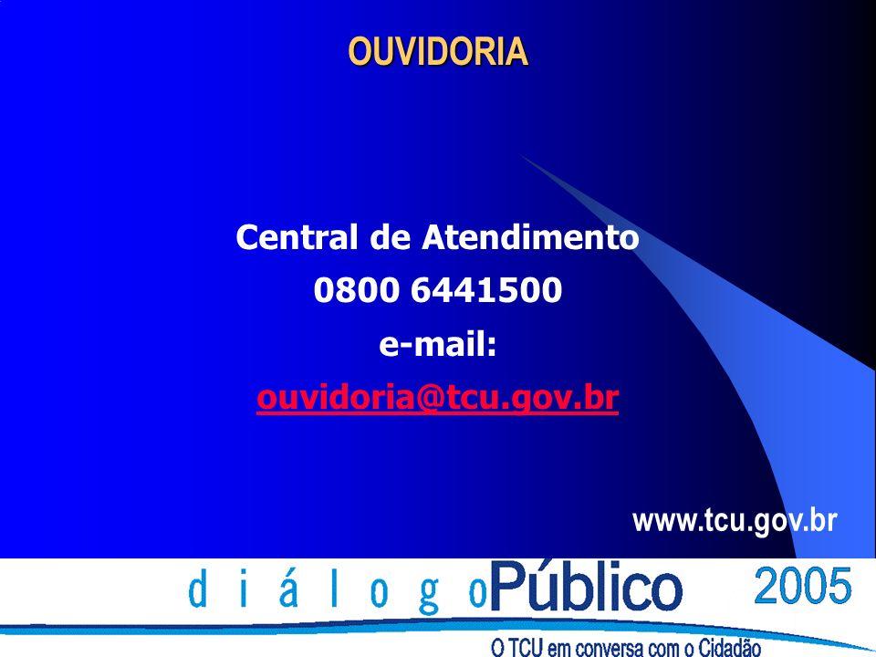 OUVIDORIA Central de Atendimento 0800 6441500 e-mail: ouvidoria@tcu.gov.br www.tcu.gov.br