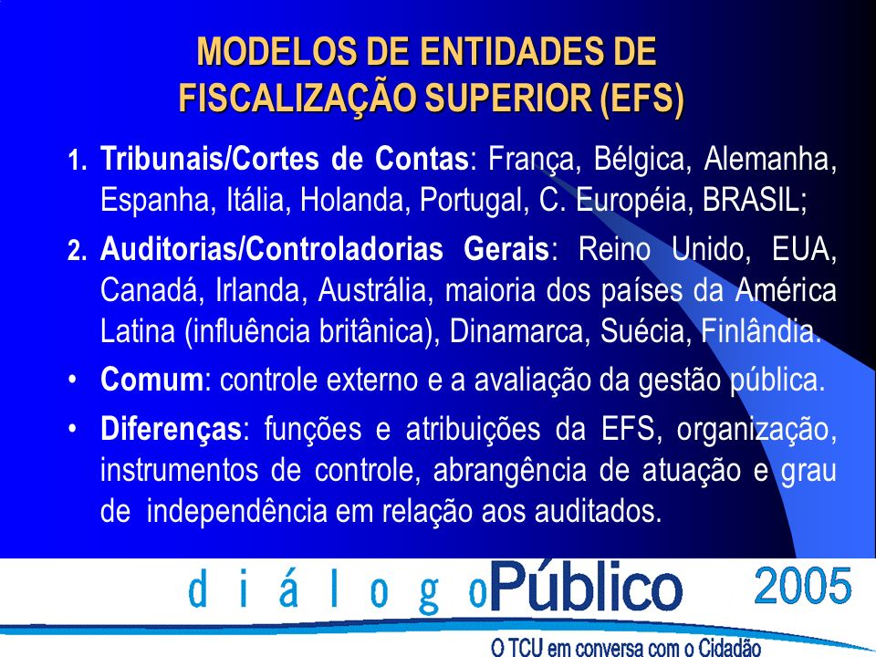 MODELOS DE ENTIDADES DE FISCALIZAÇÃO SUPERIOR (EFS) FISCALIZAÇÃO SUPERIOR (EFS) 1. Tribunais/Cortes de Contas : França, Bélgica, Alemanha, Espanha, It