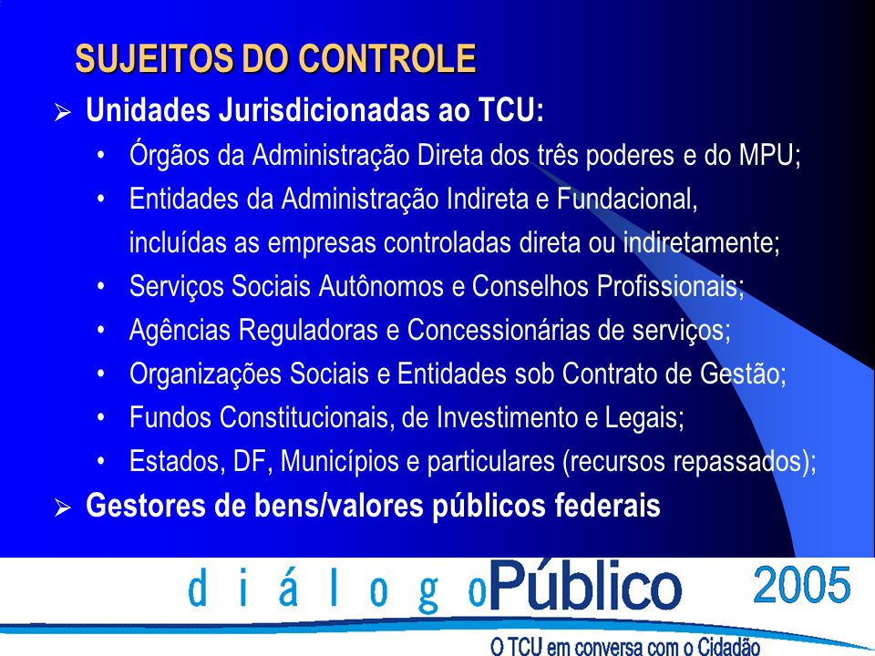 SUJEITOS DO CONTROLE Unidades Jurisdicionadas ao TCU: Órgãos da Administração Direta dos três poderes e do MPU; Entidades da Administração Indireta e Fundacional, incluídas as empresas controladas direta ou indiretamente; Serviços Sociais Autônomos e Conselhos Profissionais; Agências Reguladoras e Concessionárias de serviços; Organizações Sociais e Entidades sob Contrato de Gestão; Fundos Constitucionais, de Investimento e Legais; Estados, DF, Municípios e particulares (recursos repassados); Gestores de bens/valores públicos federais