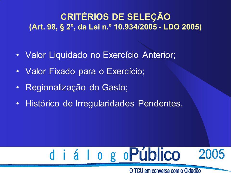 CRITÉRIOS DE SELEÇÃO (Art.