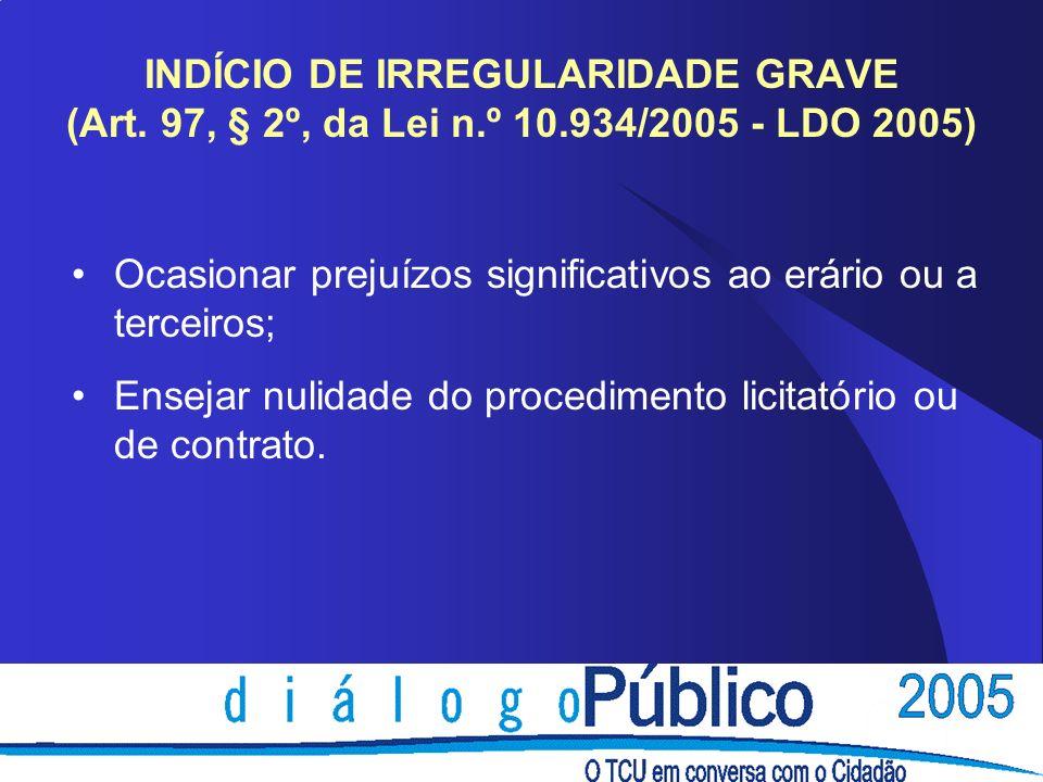 INDÍCIO DE IRREGULARIDADE GRAVE (Art.